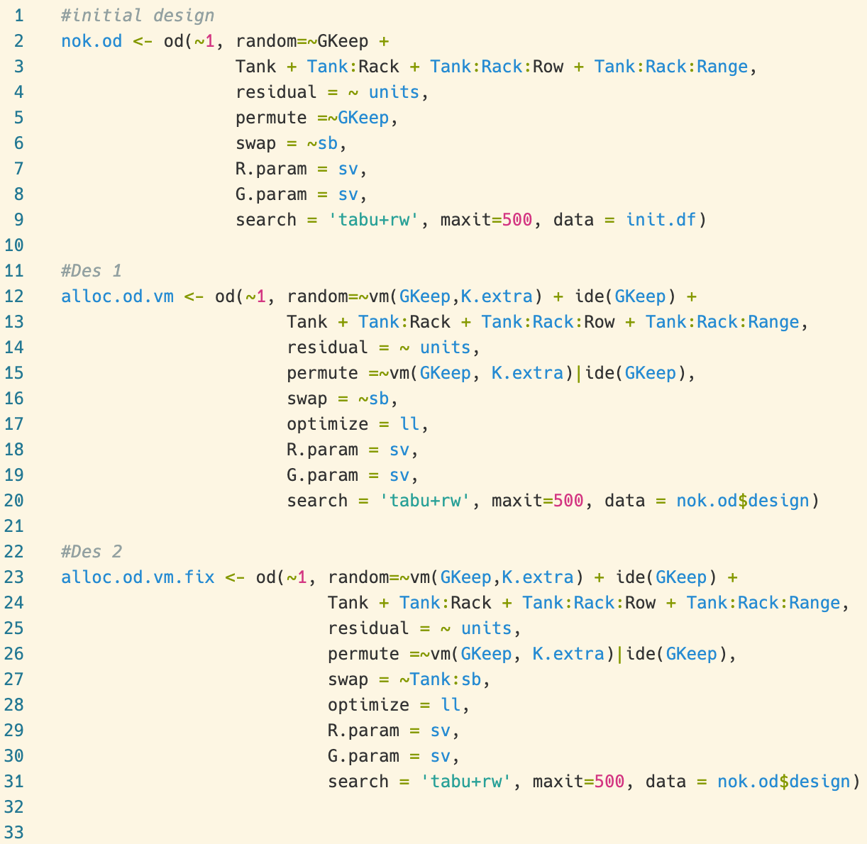 example of OD code in R